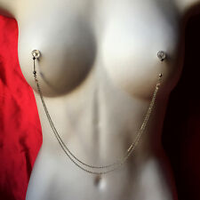BoDivas Nipple Noose Stainless Steel Rings Intimate Jewelry Double Chain Silver