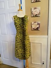 Moschino Jeans Green Cheetah Dress Size 8 Vintage 90s $185