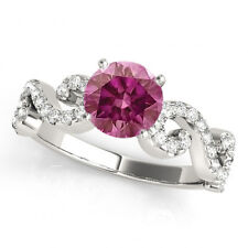 0.68 Ct Pink Purple Diamond Ring HPHT  14kWG Valentine Day Spl. Sale