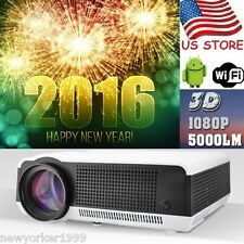 USA 1080P 5000lumen Android4.4 3D Wifi Full HD HDMI Smart Home Theater Projector