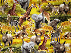 SAFARI ELEPHANT ZEBRA GIRAFFE CATS 100% COTTON FABRIC TIMELESS TREASURES YARDAGE