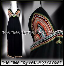 Kate Moss Topshop Maxi Black Multi Festival Dress Split Appliqué Boho UK 10 12