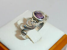 Ladies Sterling 925 Silver 0.5 CT Oval Cut Purple Amethyst Solitaire Ring - N