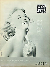 PUBLICITE ADVERTISING 115  1960  GIN FIZZ  eau de toilette de LUBIN