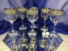 Crystal Glass  Russian Set of 6 Champagne Wine Glasses  7oz Platinum Versace