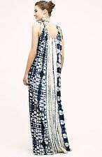NWT Anthropologie Holding Horses blue & white Tye Dye Maxi Dress drawstring M L