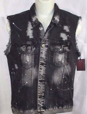 MENS BROOKLYN CLOTH VINTAGE DISTRESSED BLACK DENIM JEAN VEST SIZE XL