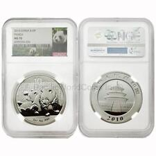 China 2010 Panda 10 Yuan 1 oz Silver NGC MS70