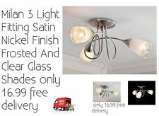 New Milan 3 Light Ceiling Fitting Antique Brass Finish. Bulbs not included.
