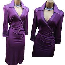 Karen Millen Purple Jersey Silk Shirt Style Cocktail Evening Office Dress 10 UK