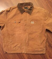 Vintage Worn Ralph Lauren Polo USA Brown Denim Jean Jacket Tan Corduroy Collar