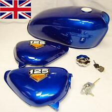 NEW HONDA CB100 CB125 S TANK - SIDE PANELS & BADGES - FUEL CAP & TAP IN BLUE