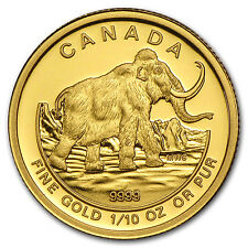 2014 Canada 1/10 oz Proof Gold $5 Prehistoric Woolly Mammoth - SKU #88564