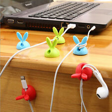 6PC Rabbit Cable Drop Clip Desk Tidy Organiser Wire Cord USB Charger Holder