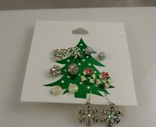 Claires Earrings studs and dangle pierced crystals, assortment 6 pairs Christmas