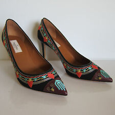 F-9230169 New Valentino Rockstud Black Pump Embroidered Marked 39 US 9