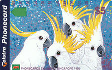 Australia 1995 Singapore Exhibition $5 Cockatoos magnetic phonecard, unused