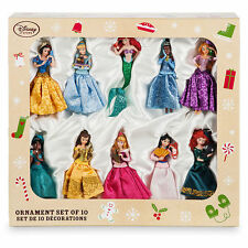 Disney Store 10 Glitter Princesses & Friends Sketchbook Ornament Set Collection