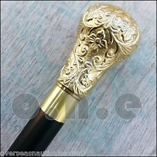 Antique Brass Designer Handle Black Wooden Walking Cane Stick Vintage Victorian