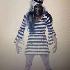 Womens Sexy ZOMBIE WALKING DEAD JAIL BIRD PRISONER Fancy Dress Costume Outfit
