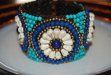LARGE BOLD SOUTH WESTERN STYLE KNIT MATERIAL AND NATURAL STONES CUFF BRACELET