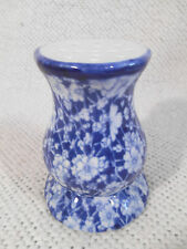 "Flow Blue Style Ceramic Vanity Hat Pin Holder / White Flowers - 4 3/4"" Tall"
