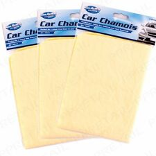 PACK OF 3 Car Cleaning Chamois Cloth Synthetic Leather Shammy Drying/Washing