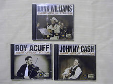 3- American Music Legends, Hank Williams, Roy Acuff, Johnny Cash Country Cd's