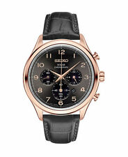 NEW Seiko SSC566 Solar Chronograph Men's Watch Rose Gold Black Leather Strap