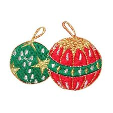 ID 8215A Metallic Thread Christmas Tree Ornament Pair Iron On Applique Patch
