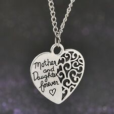Vintage Mother and Daughter Forever Love Heart pendant necklace silver tone