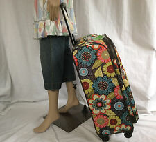 "NWT Vera Bradley FLOWER SHOWER 27"" Rolling Spinner Travel Bag Suitcase BONUS TAG"