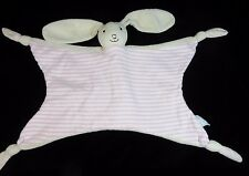 Jojo Maman Bebe Bunny Rabbit Pink Cream Security Blanket Lovey Comforter Baby