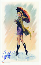 J SCOTT CAMPBELL signed GWEN STACY SIDESHOW STATUE ART PRINT with COA SPIDER-MAN