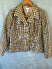 Chicos Blazer Size 4 Houndstooth Check Boucle Metallic Dressy Career