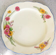 GRINDLEY ENGLAND CREAM PETAL PINK YELLOW PURPLE DAISY SQUARE ISH PLATE