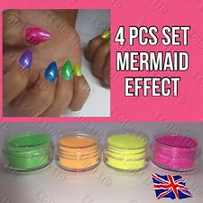 4pcs SET! MERMAID EFFECT NEON ULTRA FINE  NAILS ART POWDER  DUST FLUORESCENSE