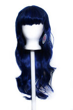 "27"" Long Layered Wavy Cut with Short Bangs Navy Blue Wig Synthetic Cosplay NEW"