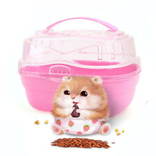 Portable Plastic Hamster Mouse Pet Carrier Transport Travel Cage Box Pink