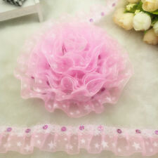 NEW 3 yards 2-Layer 30mm Pink Organza Lace Gathered Pleated Sequined Trim