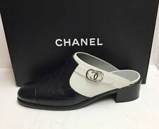 Chanel 16B CC Logo Quilted Leather Black White Clogs Mules Slides Shoes 39.5