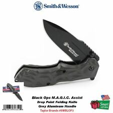 Smith & Wesson Black Ops, MAGIC Assist Opening Knife, Grey Alum Handle SWBLOP3