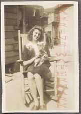 Vintage Photo Pretty Girl in Back Alley Holding Pet Cat Rocking Chair 687792
