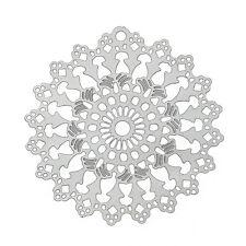 Edelstahl Anhänger Charm, Blume filigran, 26x25 silber 2x von BACATUS