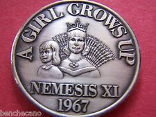 1967 Nemesis A GIRL GROWS UP Oxidized Silver Mardi Gras Doubloon-1st Year Issue