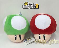 """2X New Super Mario Bros. Plush Super & 1-UP Mushroom Soft Toy Doll Teddy 5.5"""""""