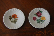 NICE OLD PAIR SCHWARZENHAMMER BAVARIA  FLOWER DECORATED MINIATURE SALT PLATES #1