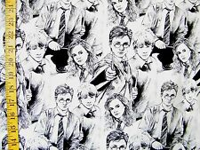 HARRY POTTER CHARACTERS GRAY PRINT 100% COTTON FABRIC BY THE 1/2 YARD