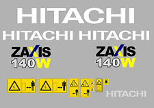 HITACHI ZAXIS140W-3 MINI DIGGER COMPLETE DECAL SET WITH SAFETY WARNING SIGNS