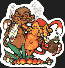 15522 Monkeys Smoking Pipe And Joint Mushrooms Weed Pot Stoner Sticker / Decal